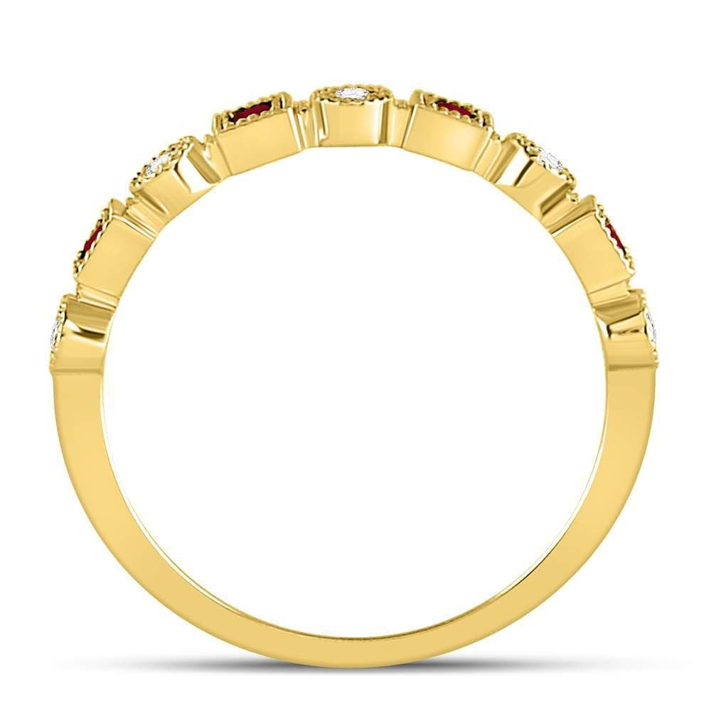 10kt Yellow Gold Womens Princess Ruby Diamond Square Dot Milgrain Stackable Band Ring 1/8 Cttw