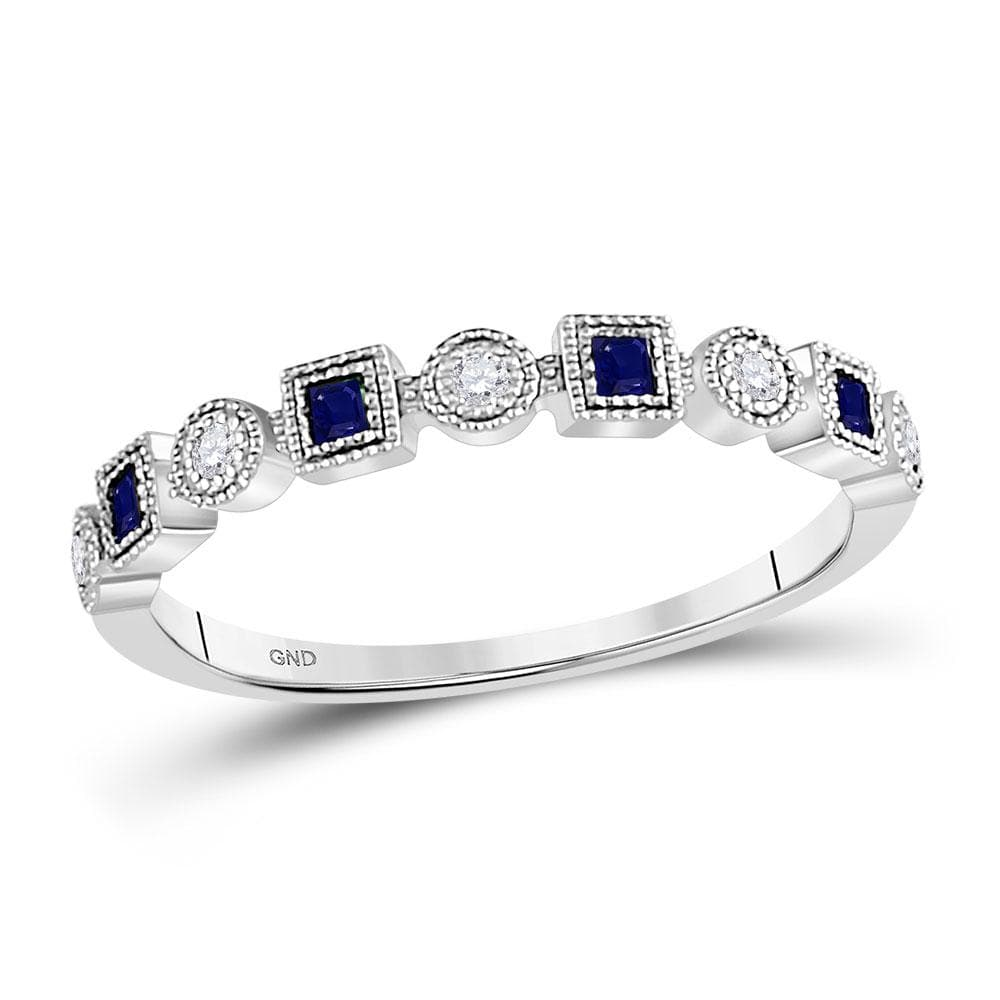 10kt White Gold Womens Princess Blue Sapphire Diamond Stackable Band Ring 1/8 Cttw