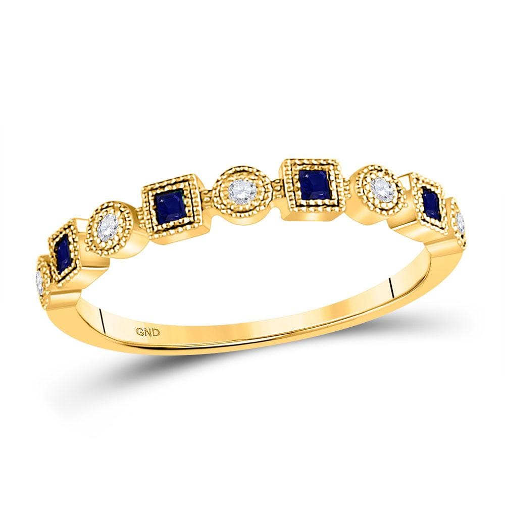 10kt Yellow Gold Womens Princess Blue Sapphire Diamond Stackable Band Ring 1/8 Cttw