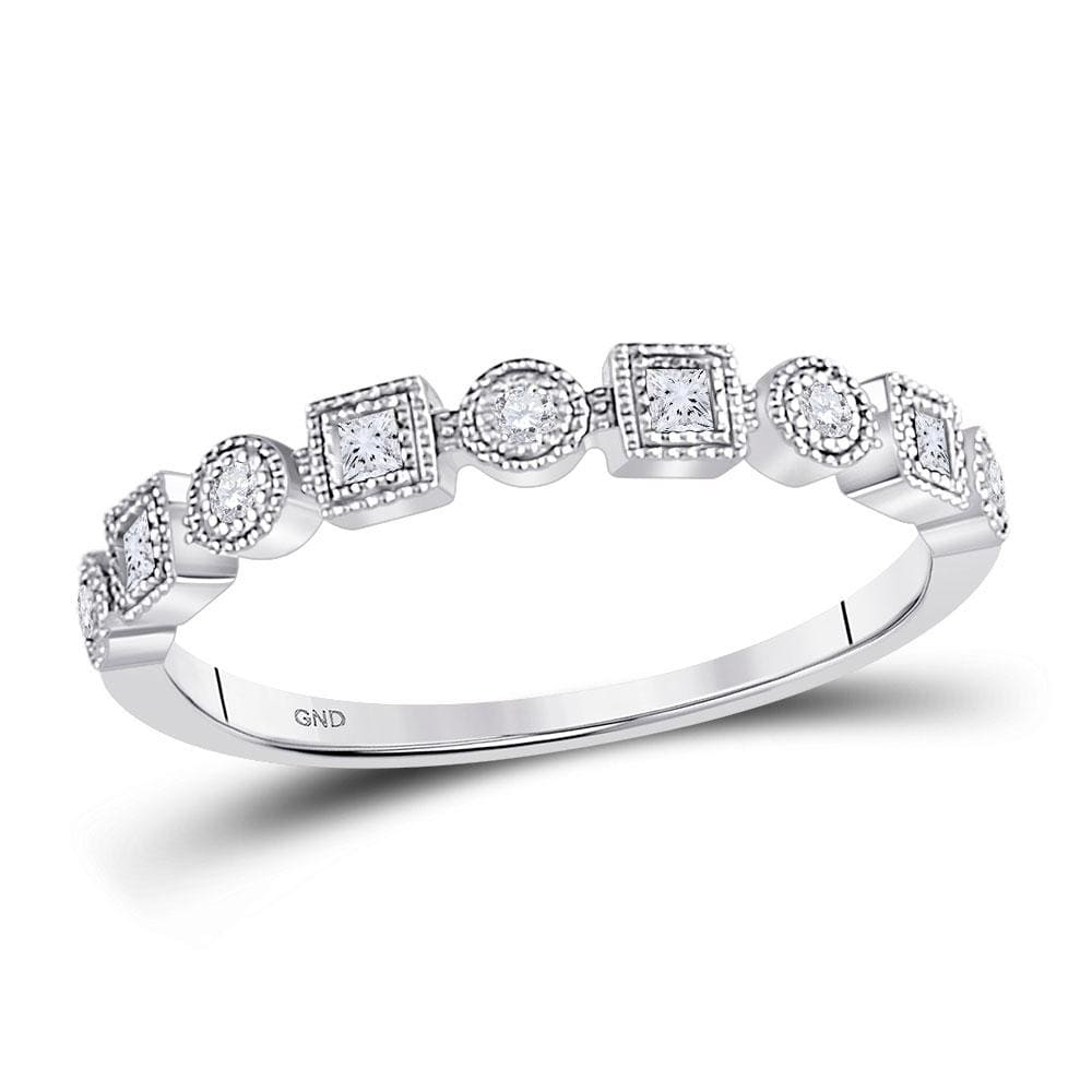 10kt White Gold Womens Round Diamond Square Dot Stackable Band Ring 1/8 Cttw