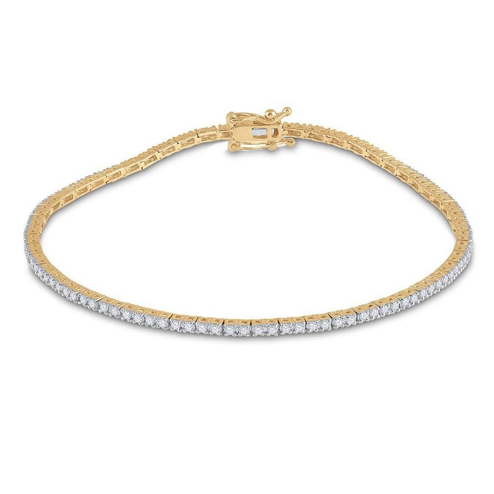 14kt Yellow Gold Womens Round Diamond Single Row Link Bracelet 1 Cttw