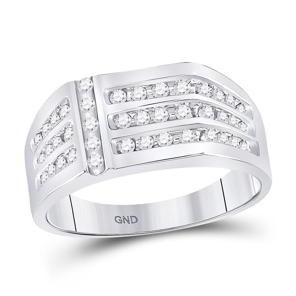 14kt White Gold Mens Round Diamond Triple Row Fashion Ring 1/2 Cttw