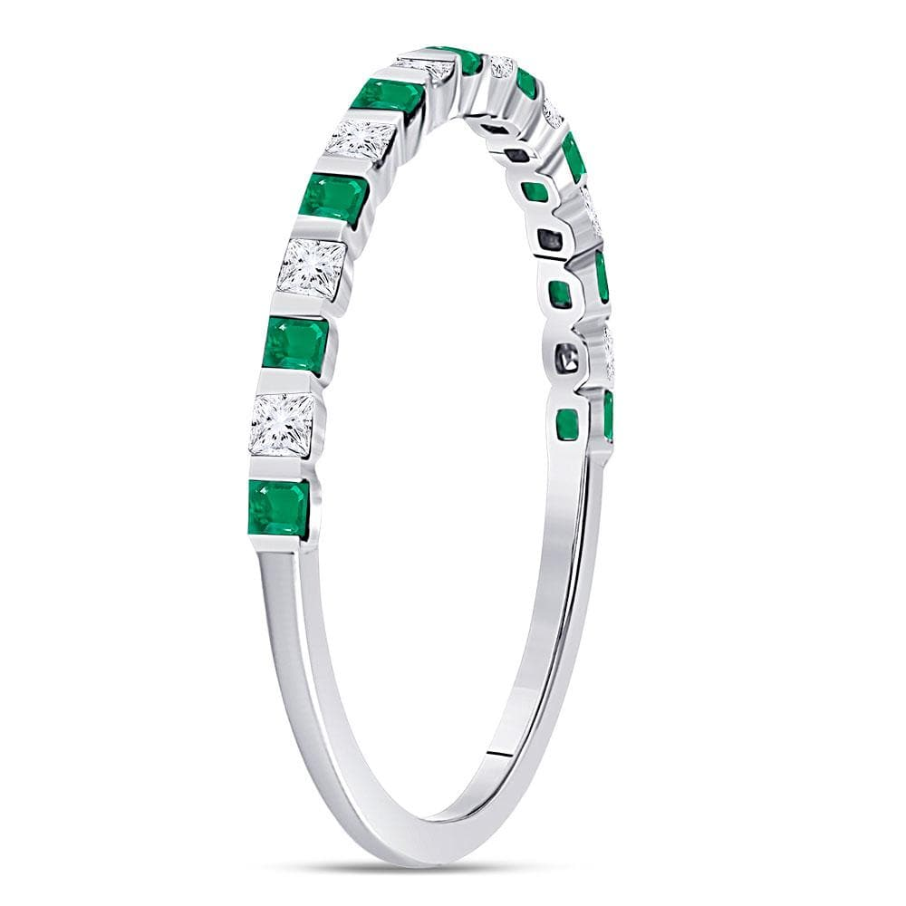 10kt White Gold Womens Princess Emerald Diamond Alternating Stackable Band Ring 1/3 Cttw