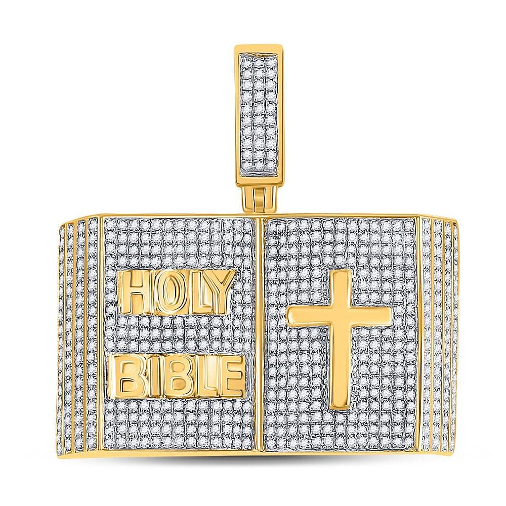 10kt Yellow Gold Mens Round Diamond Bible Cross Charm Pendant 2 Cttw