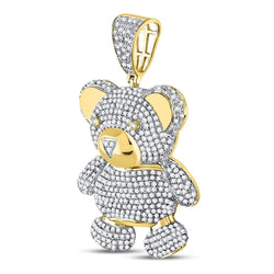 10kt Yellow Gold Mens Round Diamond Teddy Bear Charm Pendant 2.00 Cttw