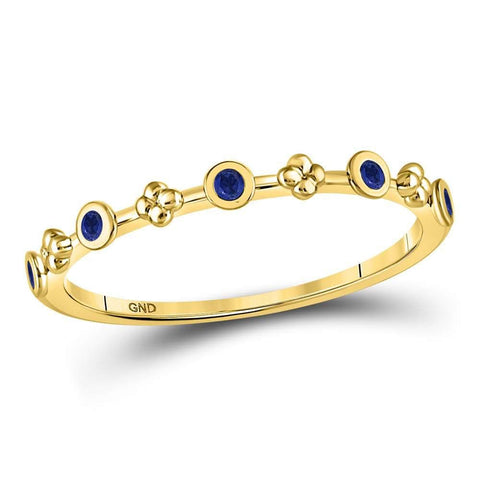 10kt Yellow Gold Womens Round Blue Sapphire Dot Flower Stackable Band Ring 1/12 Cttw