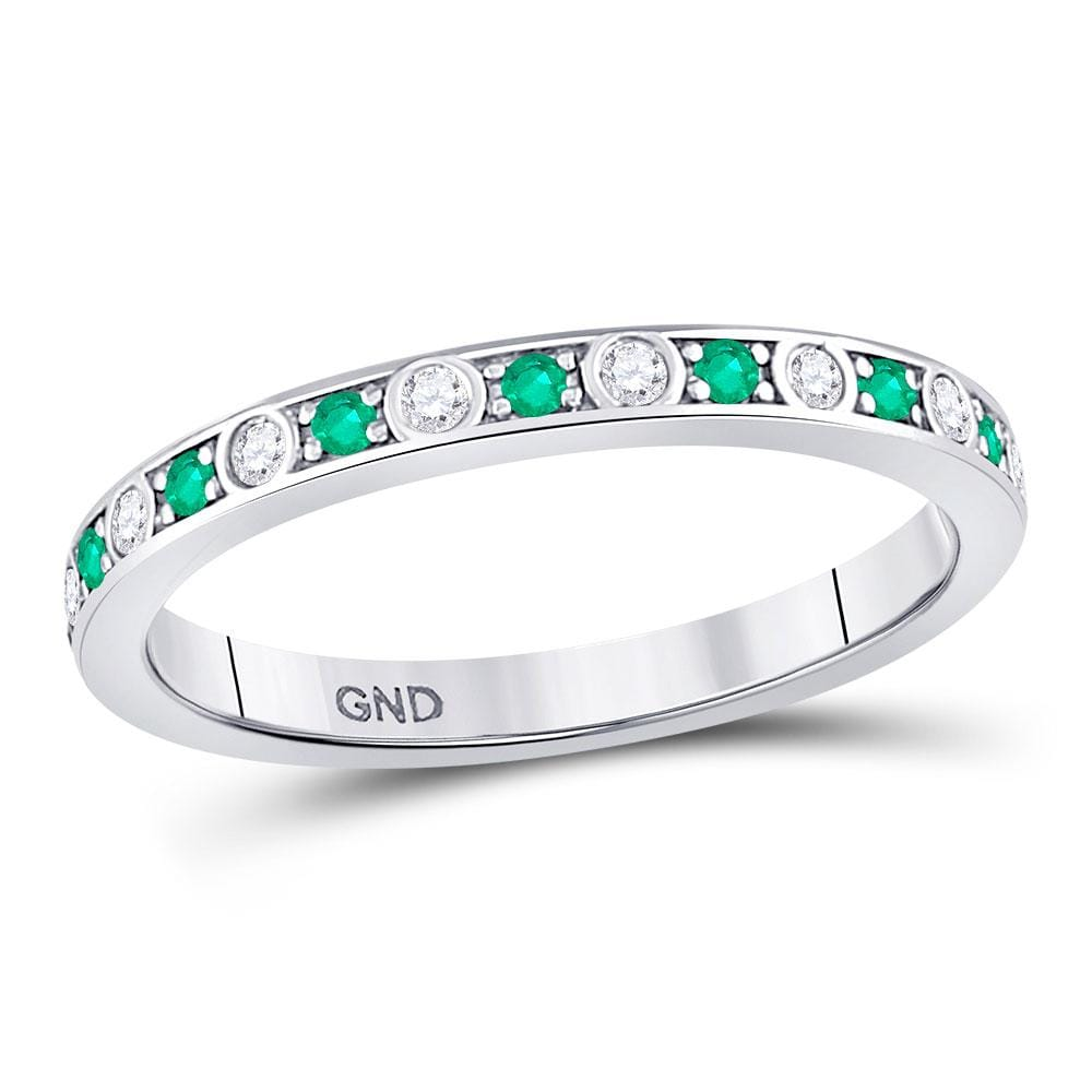 10kt White Gold Womens Round Emerald Diamond Alternating Stackable Band Ring 1/4 Cttw