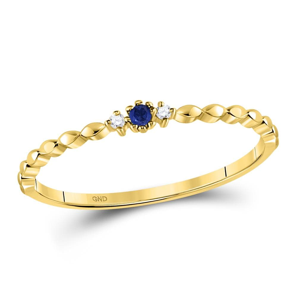 10kt Yellow Gold Womens Round Blue Sapphire Diamond Stackable Band Ring .03 Cttw