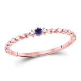 10kt Rose Gold Womens Round Pink Sapphire Diamond Stackable Band Ring .03 Cttw