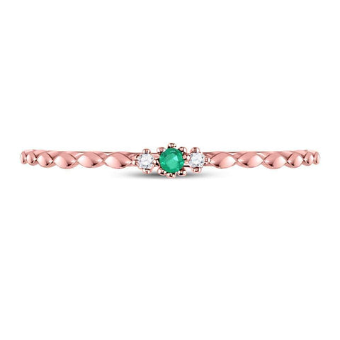 10kt Rose Gold Womens Round Emerald Solitaire Diamond-accent Stackable Ring .03 Cttw