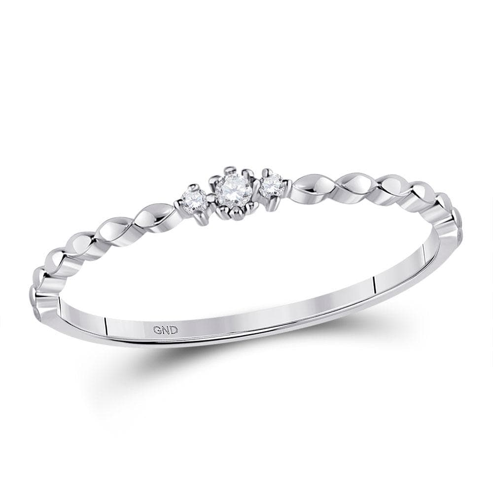 10kt White Gold Womens Round Diamond Stackable Band Ring .03 Cttw