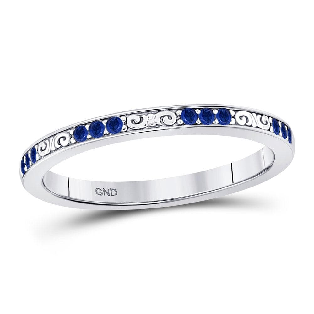 10kt White Gold Womens Round Blue Sapphire Flourished Stackable Band Ring 1/6 Cttw
