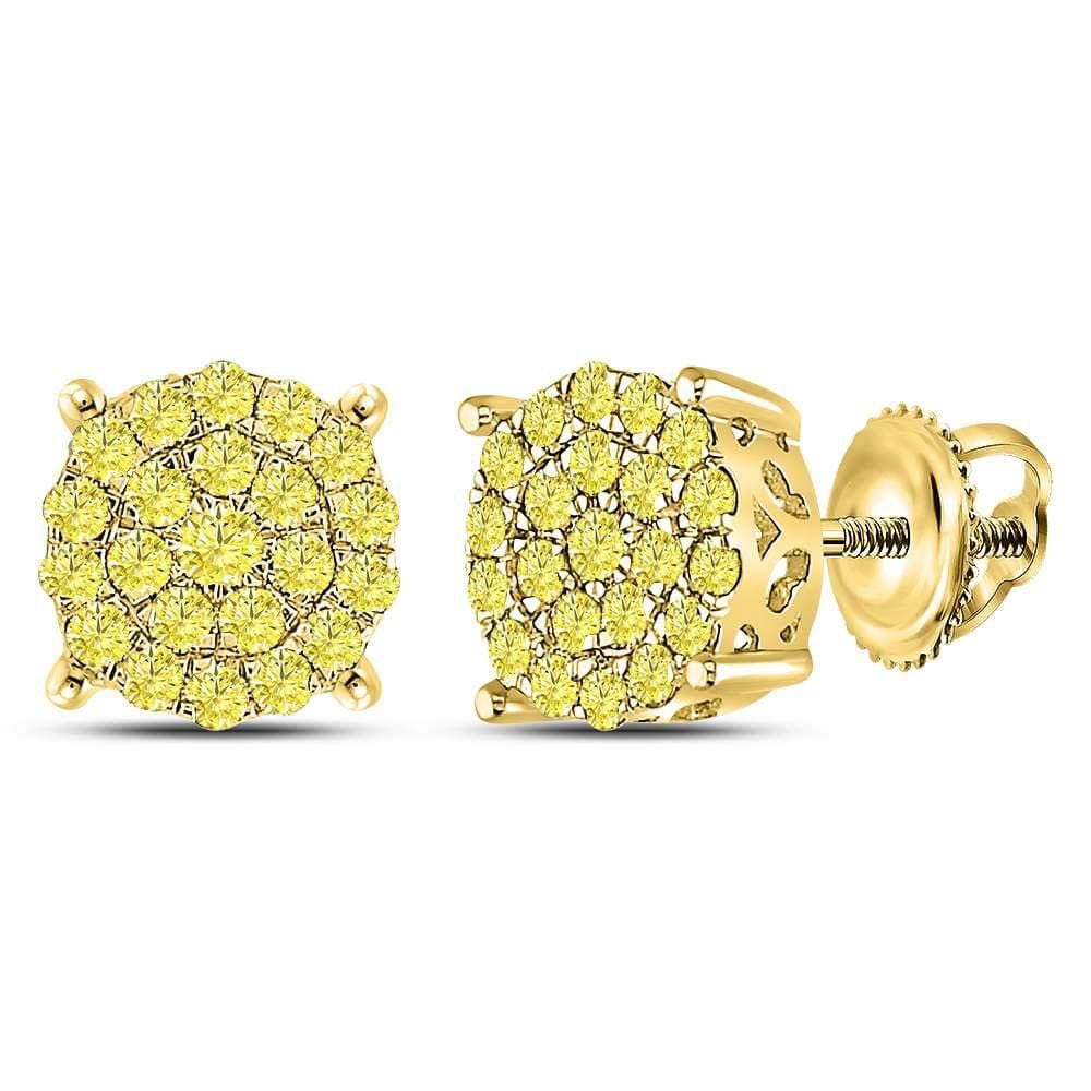 10kt Yellow Gold Womens Round Yellow Diamond Cluster Earrings 1.00 Cttw