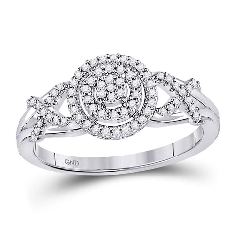 10kt White Gold Womens Round Diamond Cluster Split-shank XO Ring 1/5 Cttw