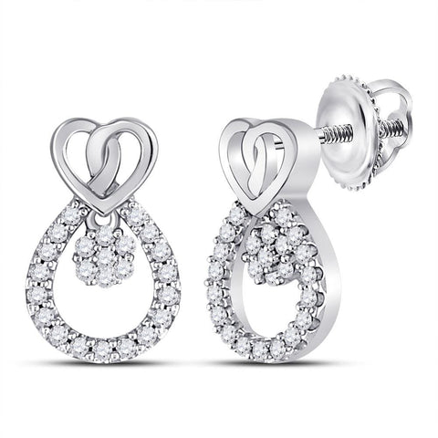 10kt White Gold Womens Round Diamond Heart Teardrop Dangle Stud Earrings 1/6 Cttw