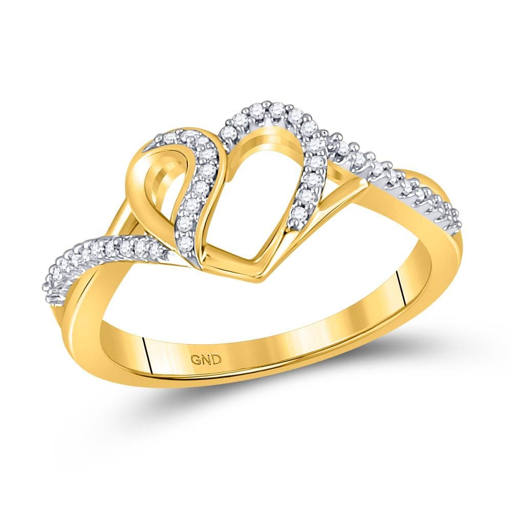 10kt Yellow Gold Womens Round Diamond Heart Ring 1/10 Cttw