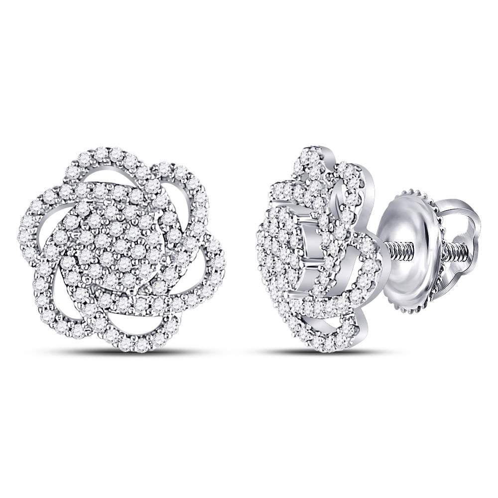10kt White Gold Womens Round Diamond Pinwheel Cluster Earrings 3/8 Cttw