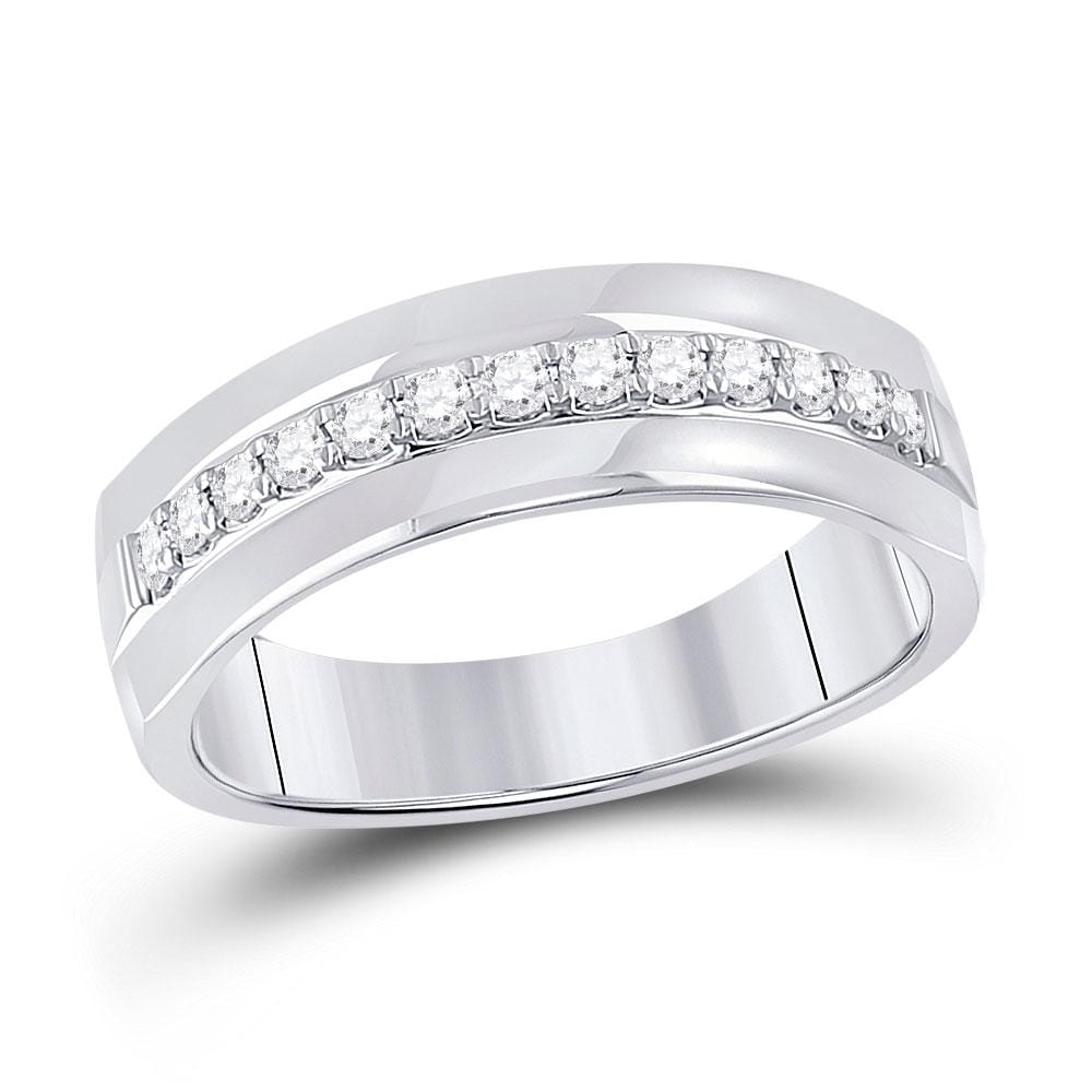 14kt White Gold Mens Round Diamond Wedding Single Row Band Ring 1/3 Cttw