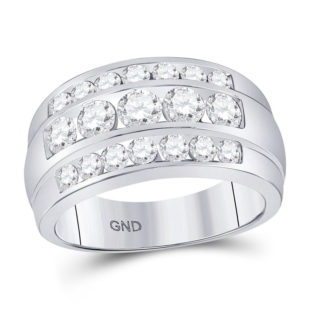 14kt White Gold Mens Round Diamond Triple Row Band Ring 2-1/3 Cttw