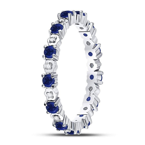 10kt White Gold Womens Round Blue Sapphire Diamond Eternity Band Ring 1.00 Cttw