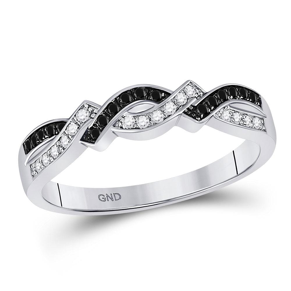 10kt White Gold Womens Round Black Color Enhanced Diamond Band Ring 1/6 Cttw