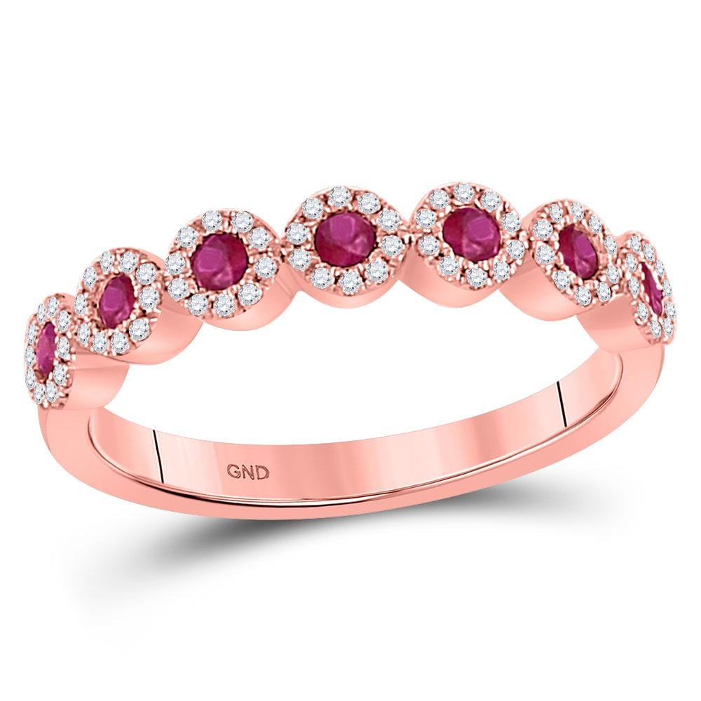 10kt Rose Gold Womens Round Ruby Diamond Circle Stackable Band Ring 1/2 Cttw