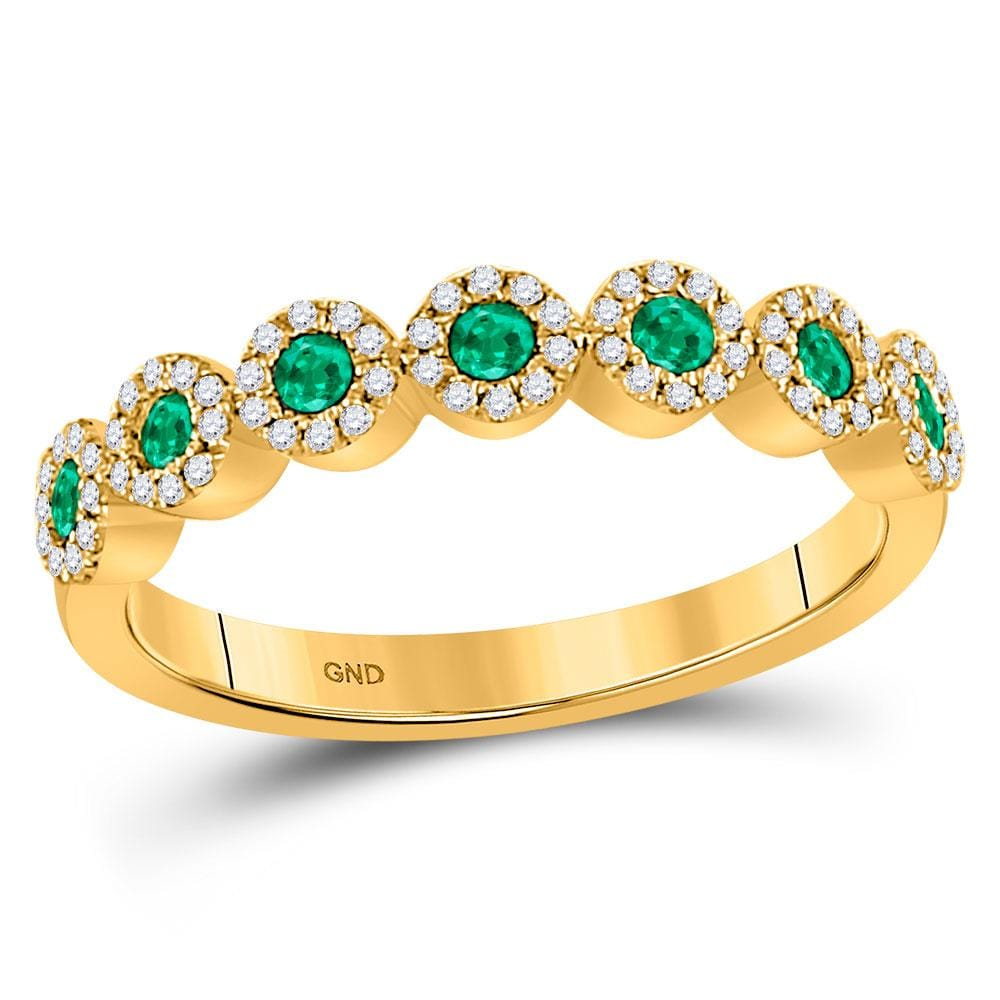 10kt Yellow Gold Womens Round Emerald Diamond Stackable Band Ring 1/2 Cttw