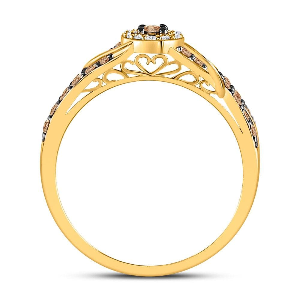 10kt Yellow Gold Womens Round Brown Diamond Solitaire Ring 3/8 Cttw