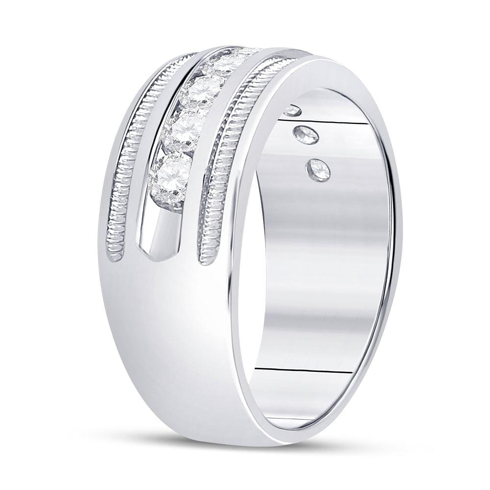 14kt White Gold Mens Round Diamond Single Row Fluted Wedding Band Ring 2.00 Cttw