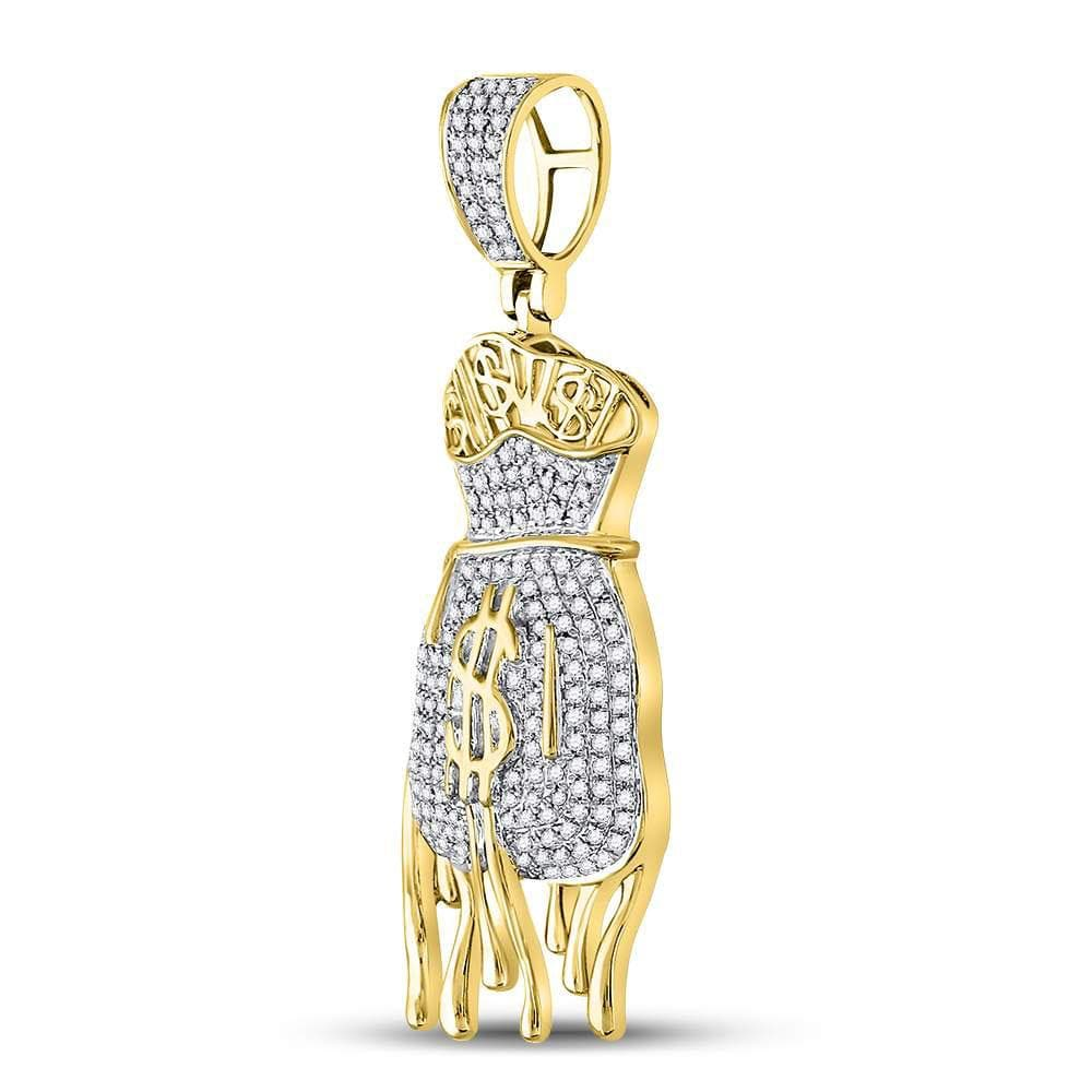 10kt Yellow Gold Mens Round Diamond Dripping Money Bag Charm Pendant 1/2 Cttw