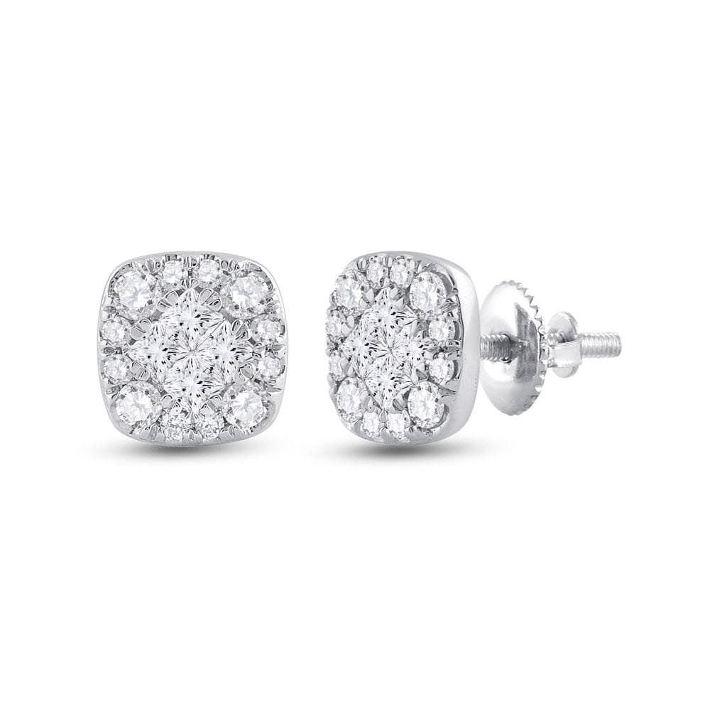 14kt White Gold Womens Princess Round Diamond Square Cluster Earrings 1/2 Cttw