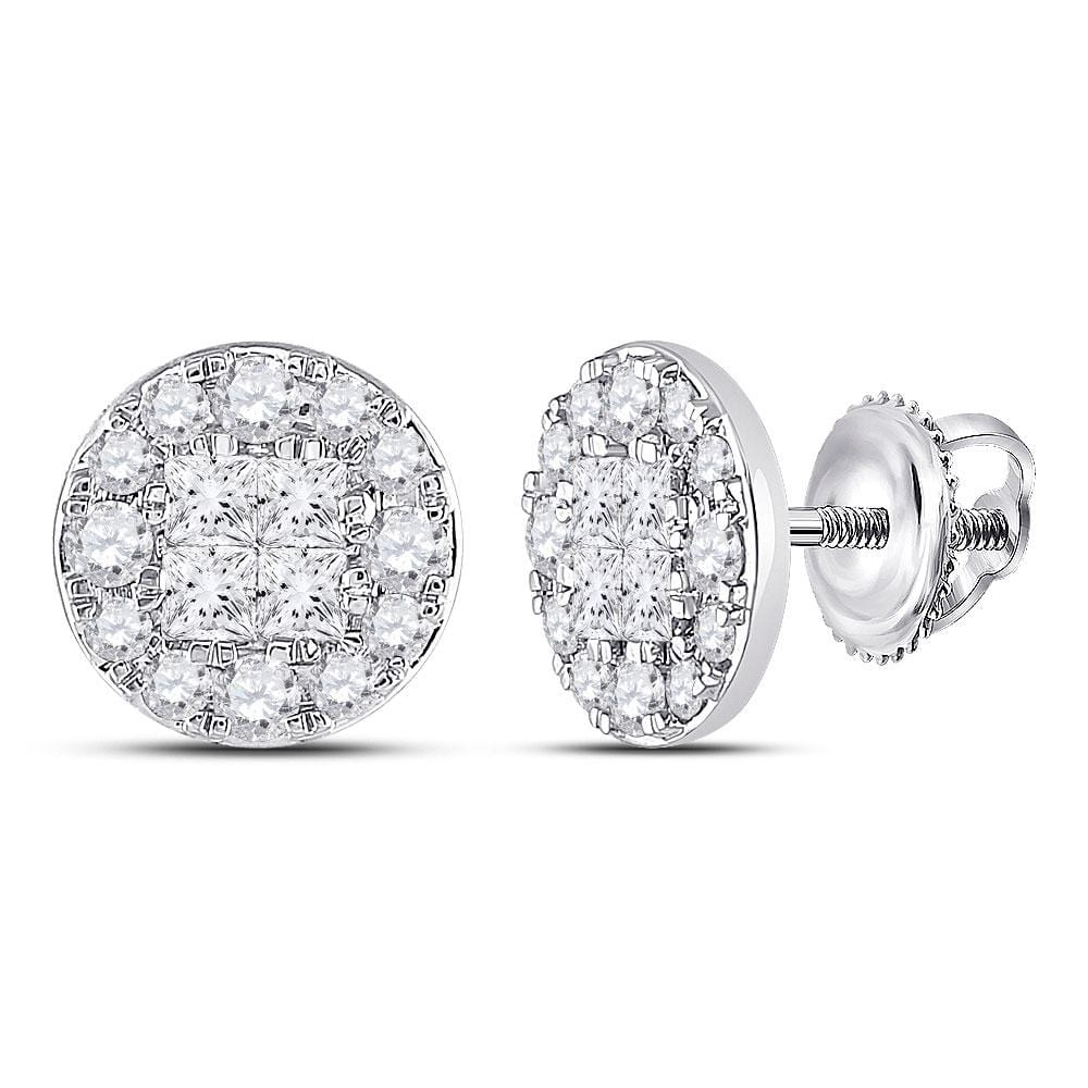 14kt White Gold Womens Princess Round Diamond Cluster Earrings 2 Cttw