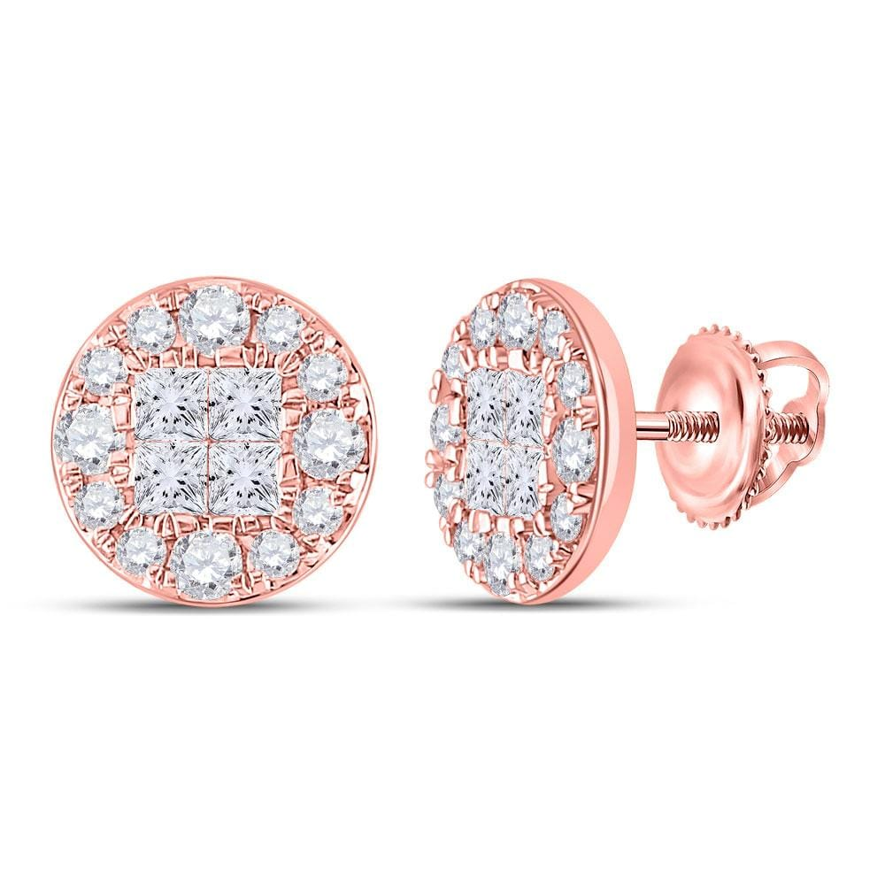14kt Rose Gold Womens Princess Round Diamond Cluster Earrings 1 Cttw