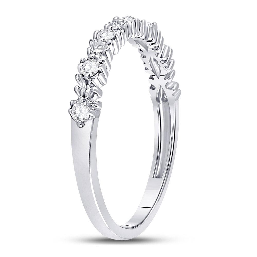 10kt White Gold Womens Round Diamond Stackable Band Ring 1/6 Cttw