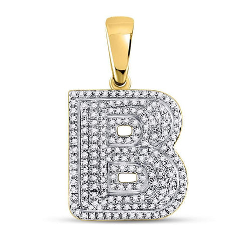 10kt Yellow Gold Mens Round Diamond Letter B Bubble Initial Charm Pendant 1/2 Cttw