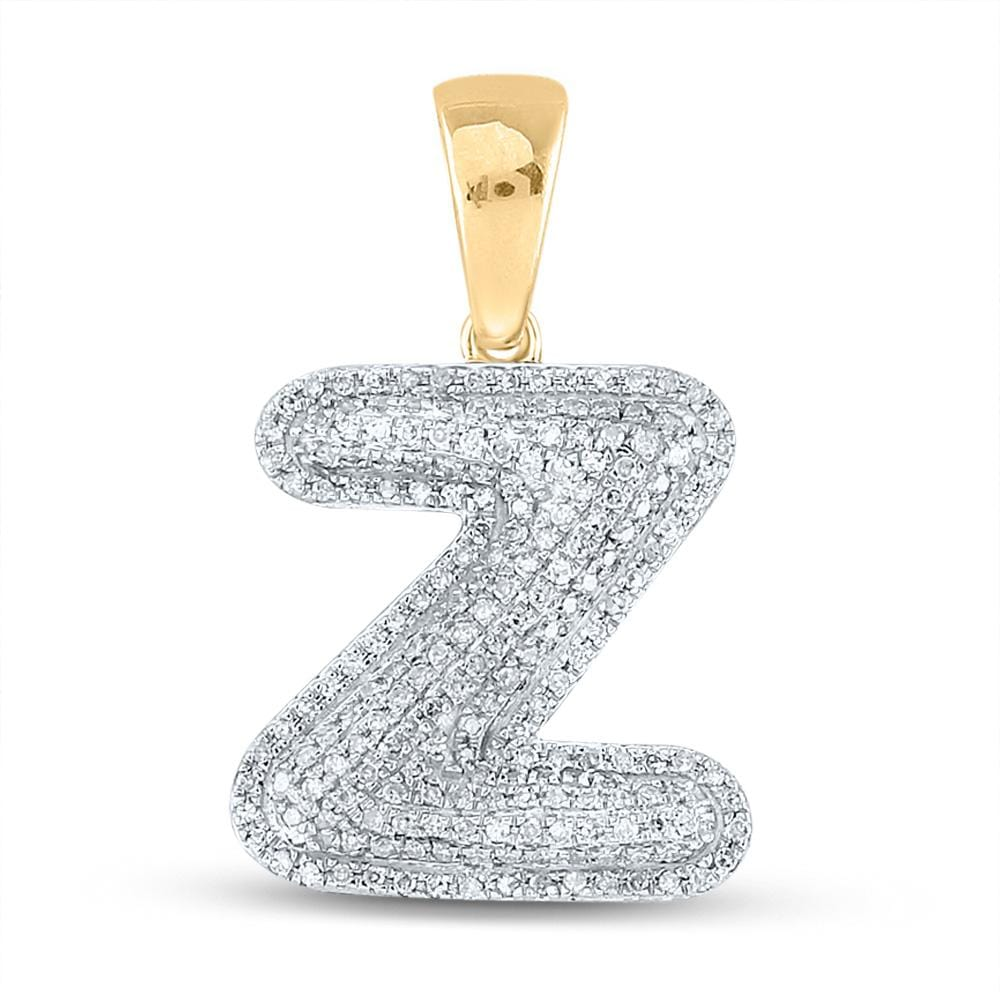 10kt Yellow Gold Mens Round Diamond Initial Z Letter Charm Pendant 5/8 Cttw