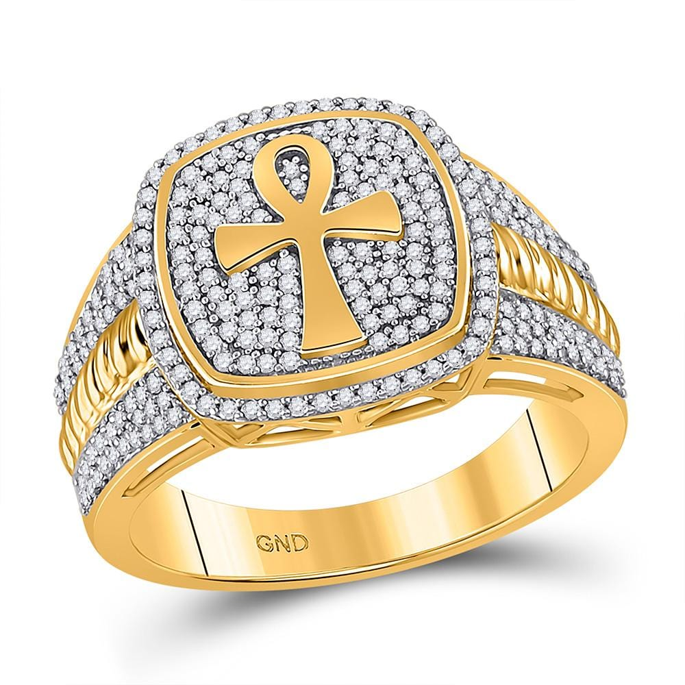 10kt Yellow Gold Mens Round Diamond Ankh Cross Ring 5/8 Cttw