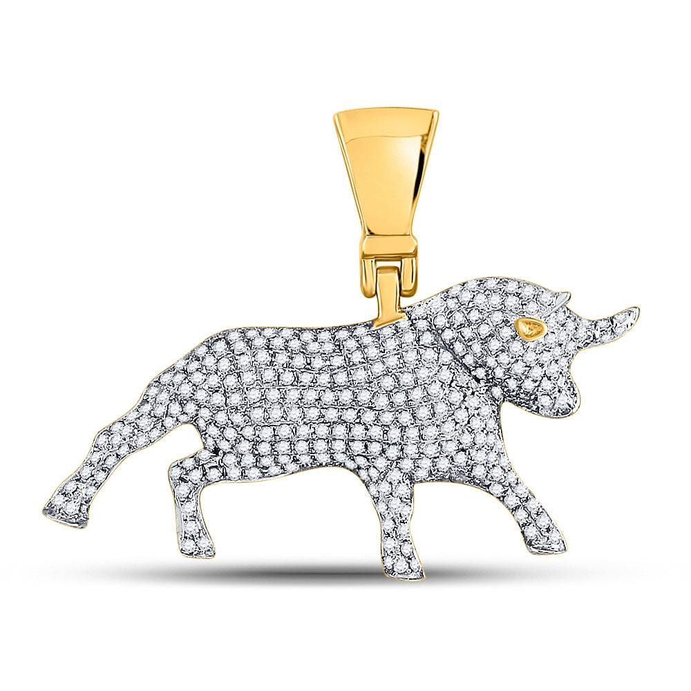 10kt Yellow Gold Mens Round Diamond Bull Charm Pendant 7/8 Cttw