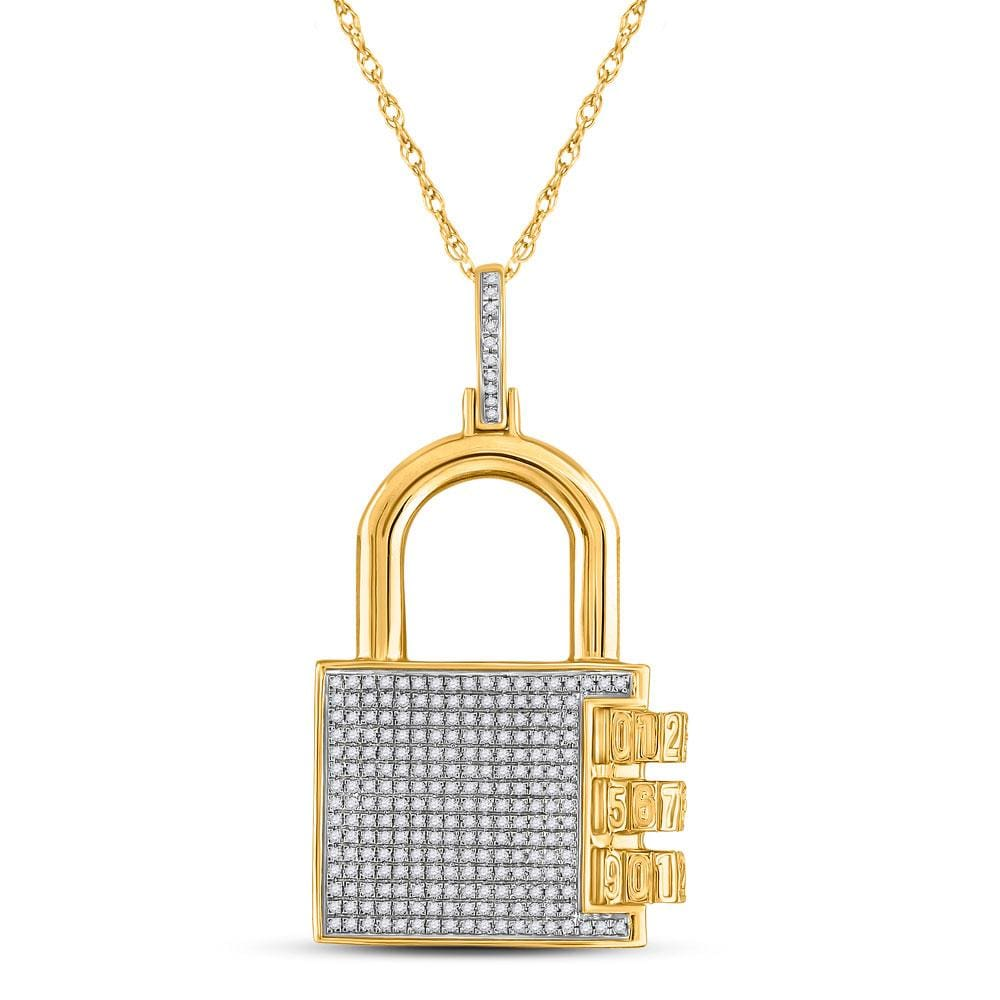 10kt Yellow Gold Mens Round Diamond Combination Lock Charm Pendant 3/4 Cttw