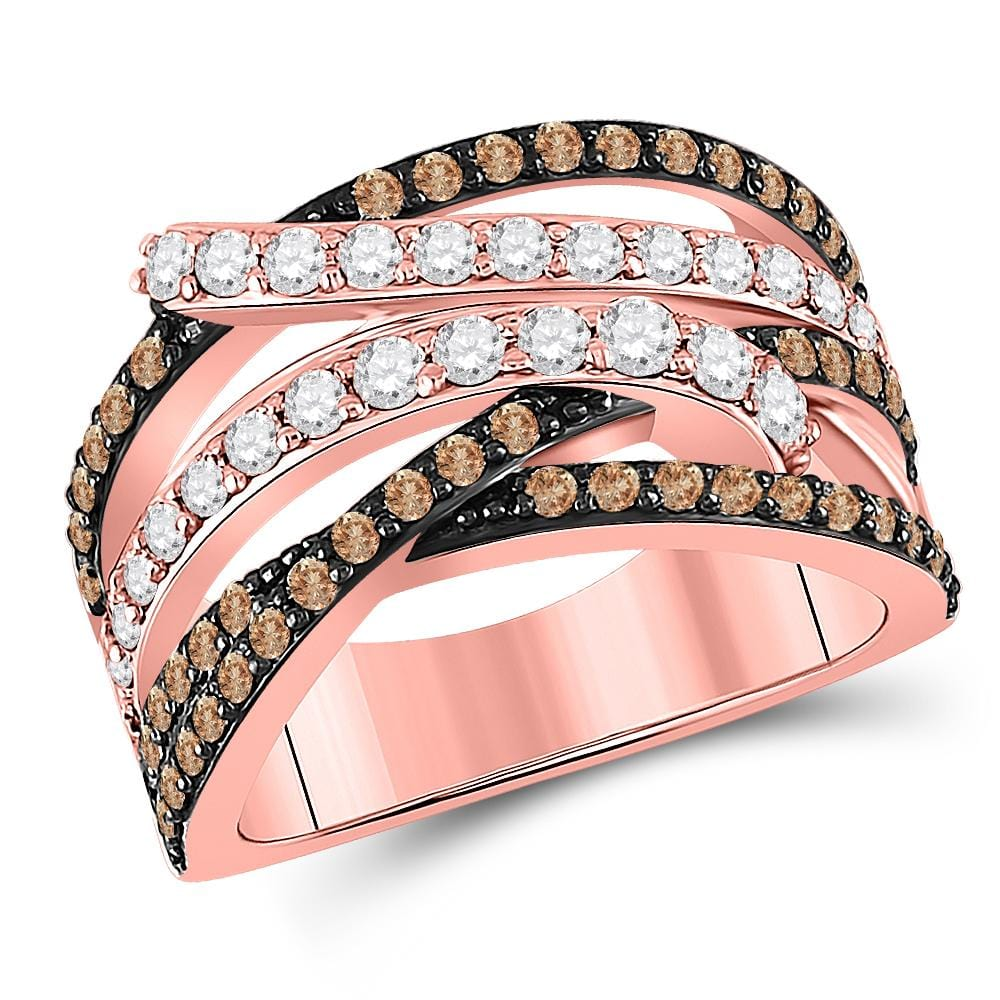 14kt Rose Gold Womens Round Brown Diamond Crossover Fashion Ring 1-1/4 Cttw