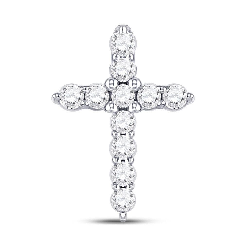 10kt White Gold Womens Round Diamond Dainty Cross Pendant 1/10 Cttw