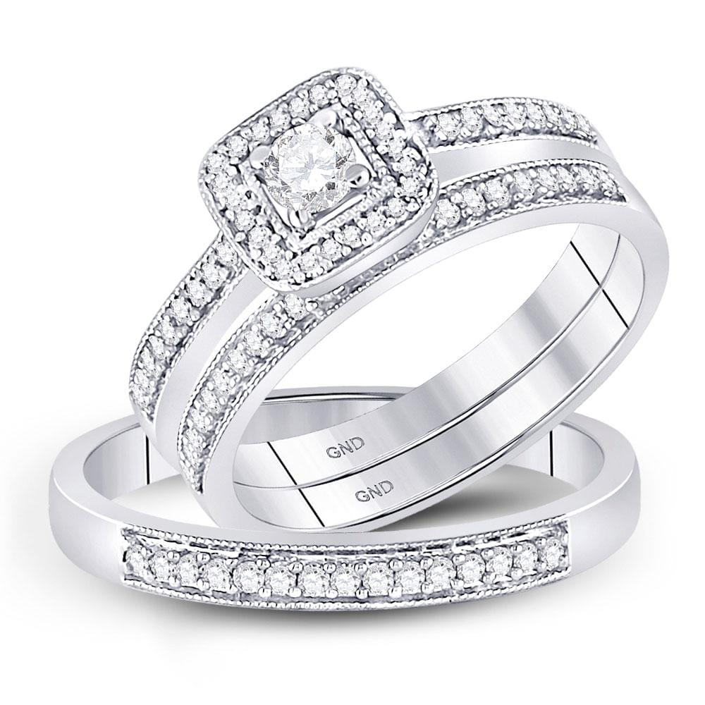10kt White Gold His & Hers Round Diamond Solitaire Matching Bridal Wedding Ring Band Set 1/2 Cttw