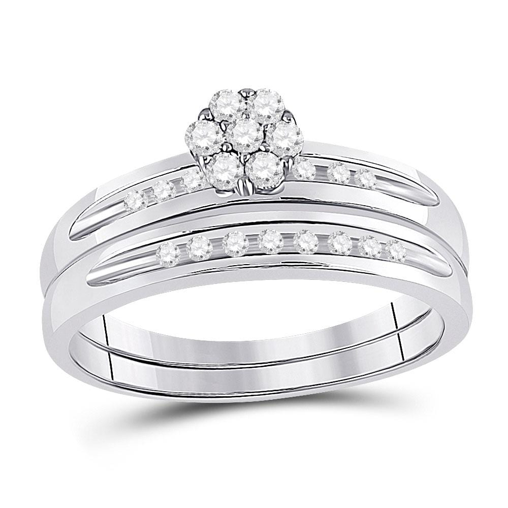 10kt White Gold His & Hers Round Diamond Cluster Matching Bridal Wedding Ring Band Set 1/3 Cttw