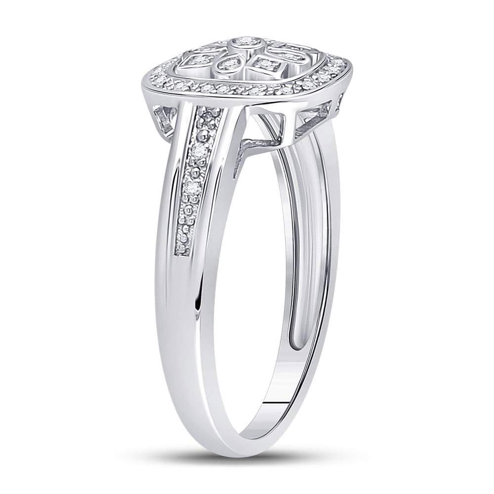 Sterling Silver Womens Round Diamond Square Frame Starburst Ring 1/10 Cttw