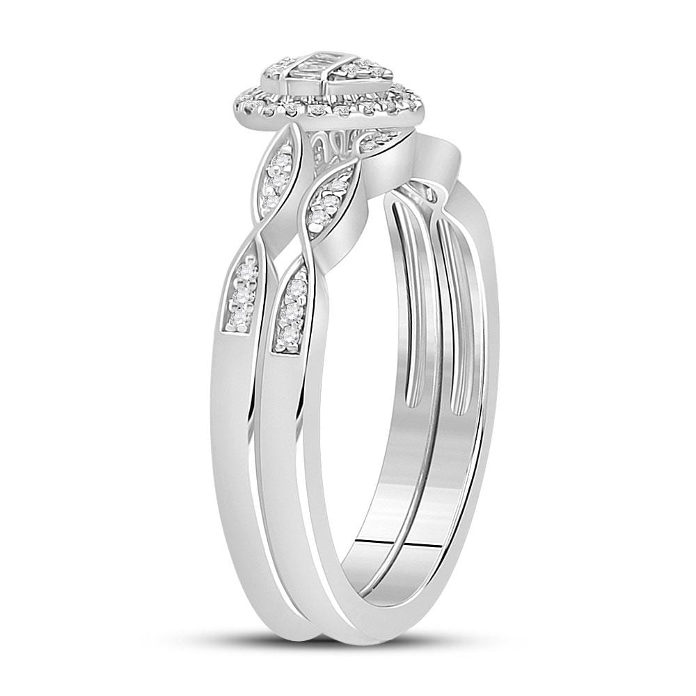 10kt White Gold Baguette Diamond Bridal Wedding Ring Band Set 1/5 Cttw