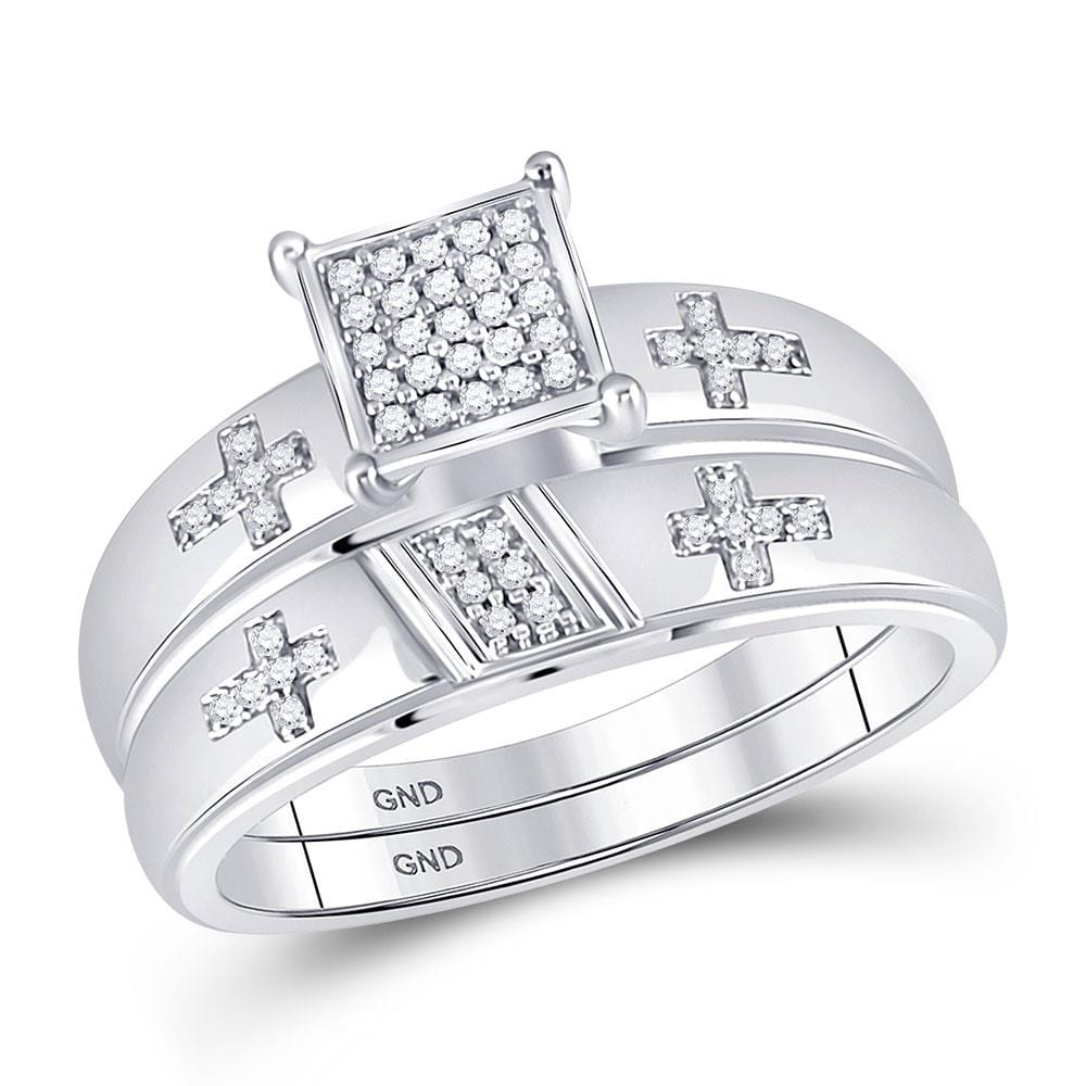 10kt White Gold His Hers Round Diamond Cross Matching Wedding Set 1/12 Cttw