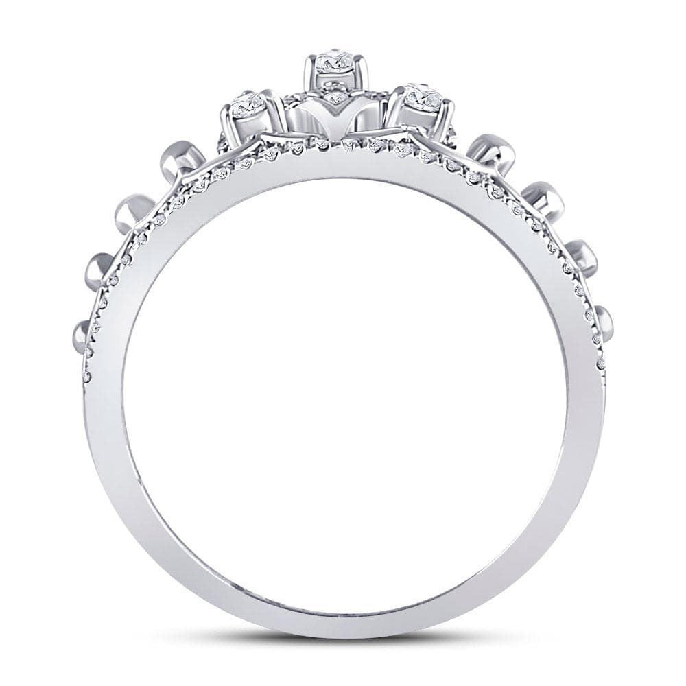 10kt White Gold Womens Round Diamond Crown Tiara Fashion Ring 1/5 Cttw