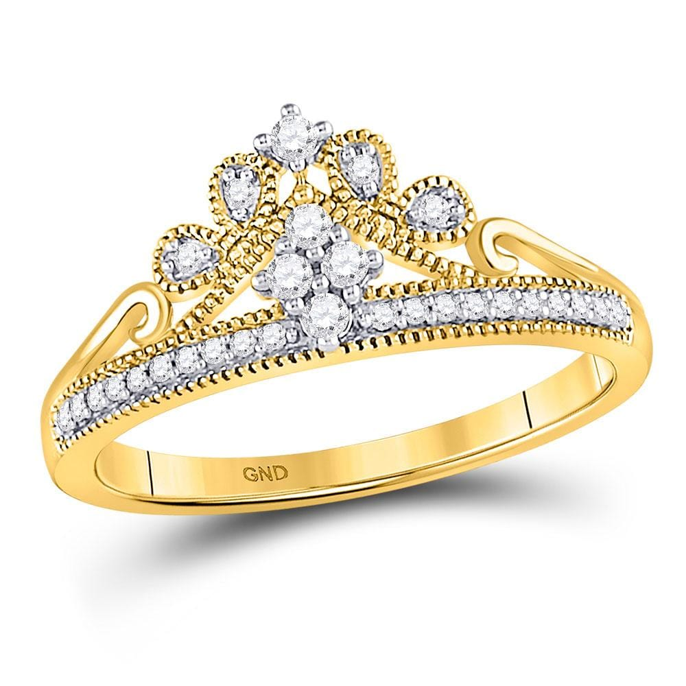 10kt Yellow Gold Womens Round Diamond Crown Tiara Fashion Ring 1/6 Cttw