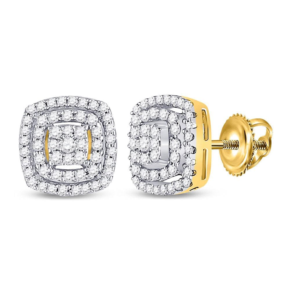 10kt Yellow Gold Womens Round Diamond Square Frame Cluster Earrings 1/4 Cttw