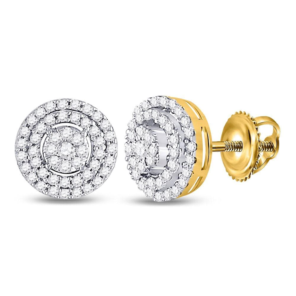 10kt Yellow Gold Womens Round Diamond Circle Frame Cluster Earrings 1/4 Cttw
